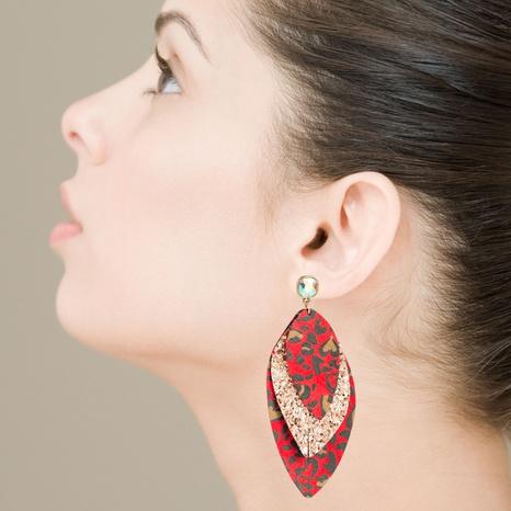 böhmische mehrschichtige Ohrringe mit Leopardenmuster aus Leder NHLN337908's discount tags