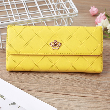 Korean candy-colored embroidery thread crown tri-fold women's wallet clutch bag card bag NHLAN337255's discount tags