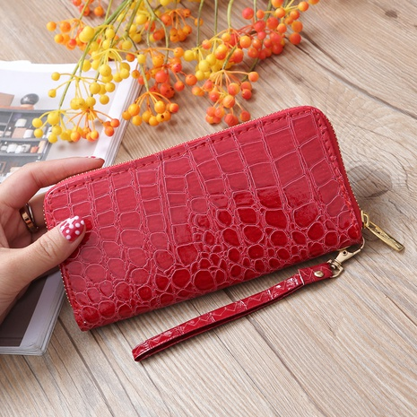 Stone pattern pull wallet zipper bag mobile phone bag  NHLAN337256's discount tags