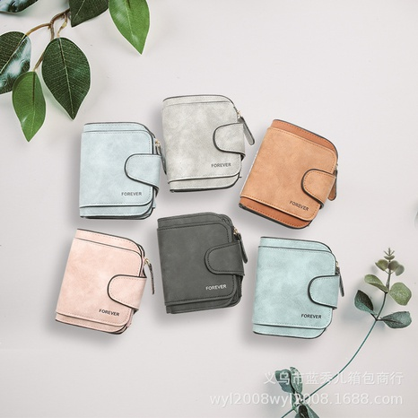 Retro leather ladies wallet short multi-card coin purse buckle wallet NHLAN337257's discount tags