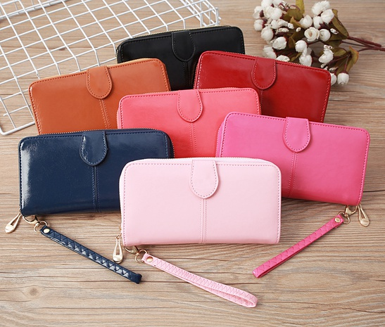 Leather large-capacity clutch bag elongated concealed buckle wallet card holder NHLAN337260's discount tags