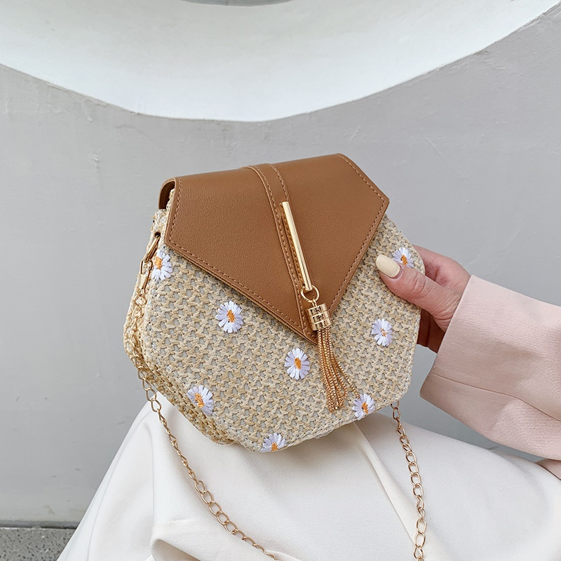 fashion metal chain braided hexagon bag  NHXC337270