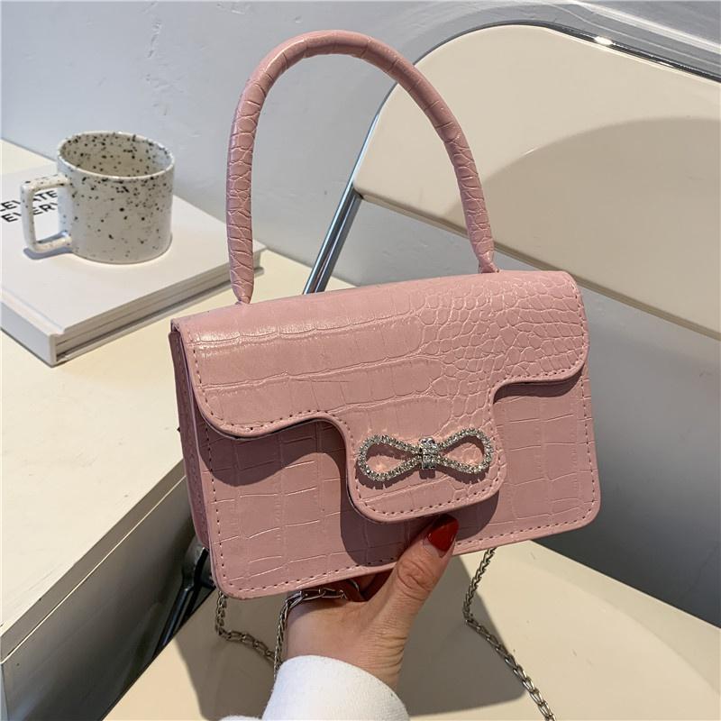Korean diamondencrusted portable small square bag  NHXC337274