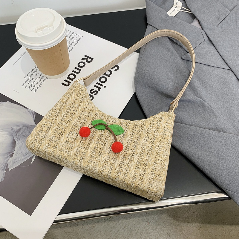 fashion woven straw cherry bucket bag  NHXC337296