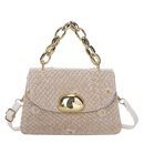 fashion metal buckle thick chain straw bag NHXC337300