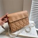 fashion pearl strap rhombus small square bag  NHXC337306