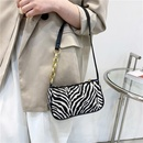 fashion black white striped armpit canvas bag NHXC337317