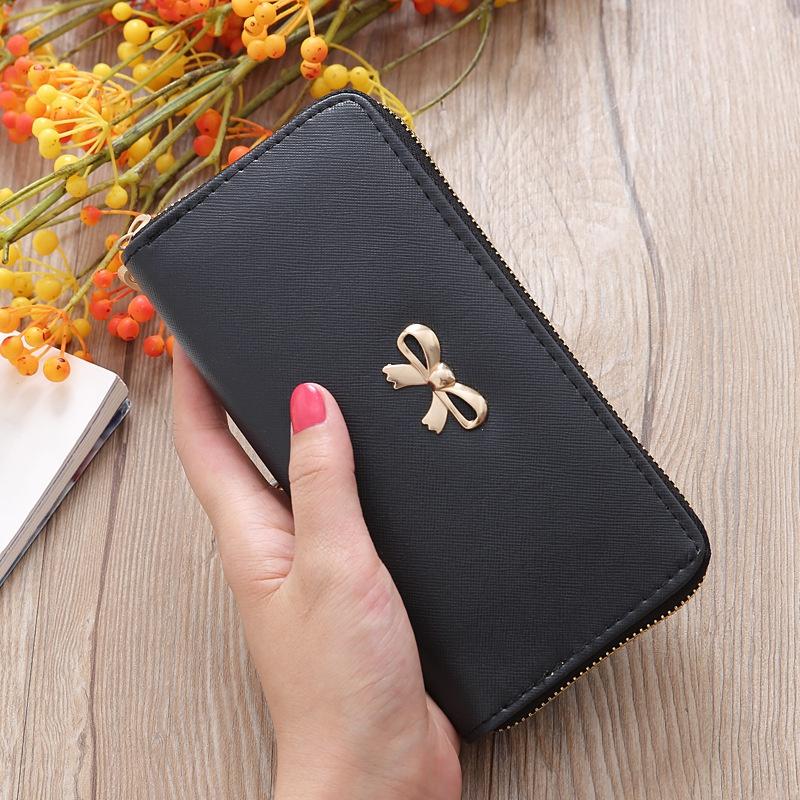 Korean bowknot solid color wallet   NHLAN337335