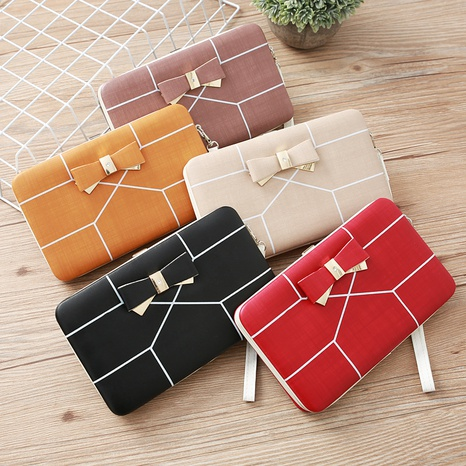 Korean stripe printing bow wallet NHLAN337340's discount tags