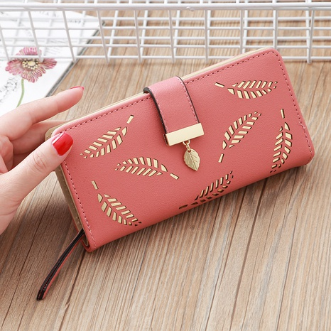Korean hollow leaf printing wallet   NHLAN337341's discount tags