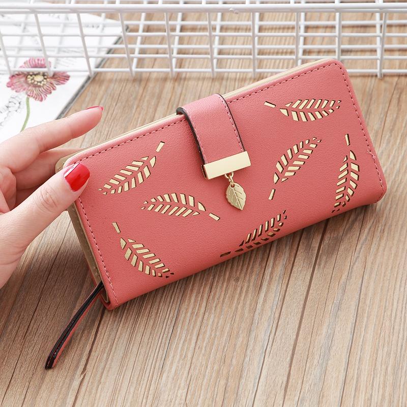 Korean hollow leaf printing wallet   NHLAN337341