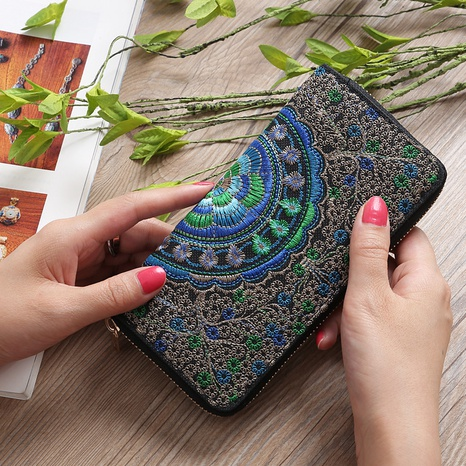 ethnic style embroidered single pull wallet  NHLAN337347's discount tags