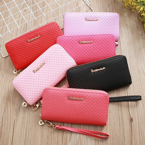 Korean embossed zipper wallet  NHLAN337353's discount tags