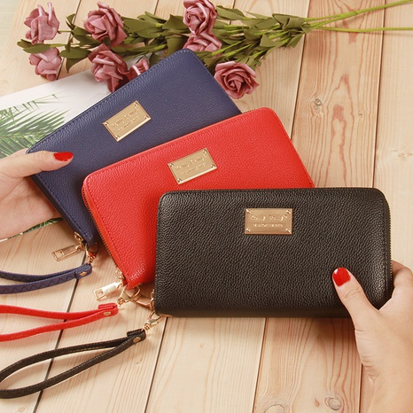 Korean lychee pattern zipper wallet  NHLAN337358's discount tags