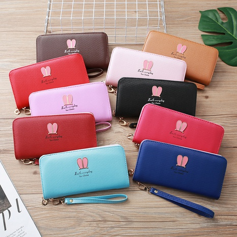 Korean rabbit ear zipper long wallet  NHLAN337368's discount tags