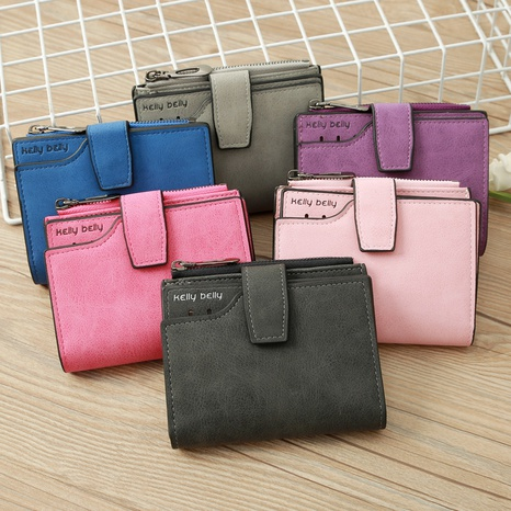 Korean frosted buckle short wallet NHLAN337372's discount tags