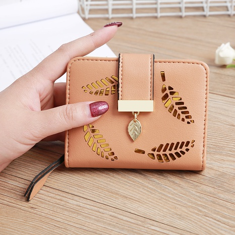 Korean hollow leaf flower two fold wallet NHLAN337377's discount tags