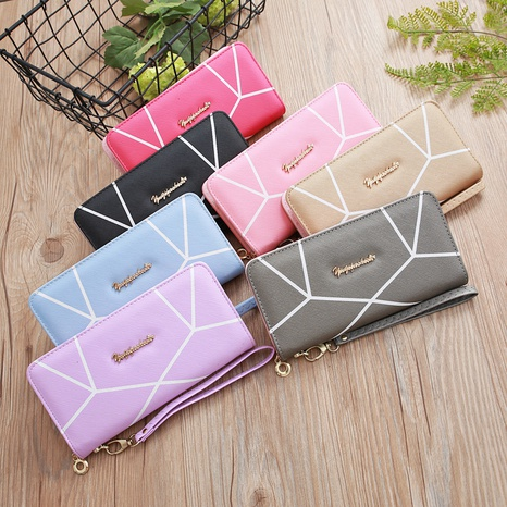 Korean zipper geometric pattern wallet NHLAN337379's discount tags