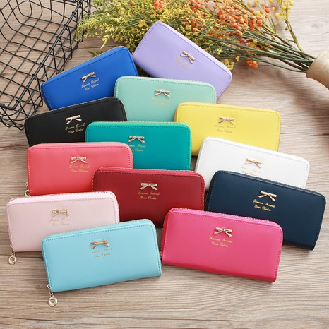 Korean bowknot letter handbag card bag coin purse zipper mobile phone bag NHLAN337381's discount tags
