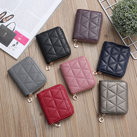 Korean clutch bag mini embroidered geometric rhombus bag card bag coin purse NHLAN337382's discount tags