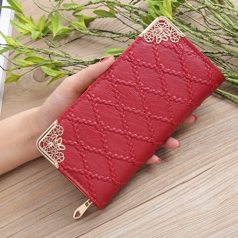Korean embossed rhombus elongated wallet hollow corner multi-card position handbag NHLAN337383's discount tags
