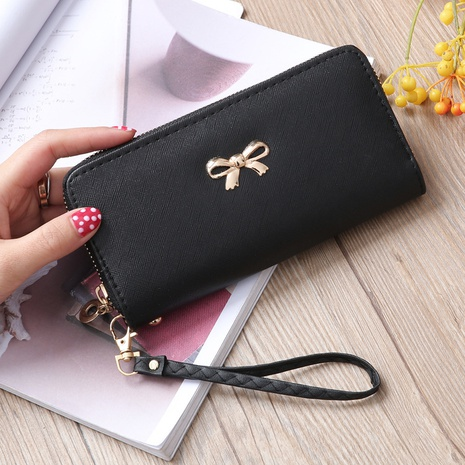 Korean zipper wallet ladies cross pattern bow clutch bag  NHLAN337384's discount tags