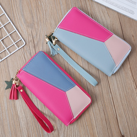 Korean stitching women's wallet card bag color matching mobile phone bag card bag NHLAN337386's discount tags