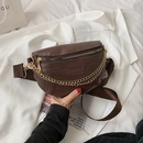Womens wide strap shoulder bag Korean flower chain waist bag NHRU337406