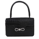 Retro crocodile pattern bow chain messenger bag  NHRU337436