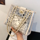 Fashion large capacity printing transparent shoulder bag NHLH337540
