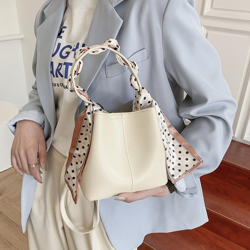 Fashion silk handle bucket small bag  NHWH337649