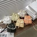 fashion messenger rhombic pearl bucket bag NHWH337653
