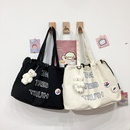 fashion bear pendant large capacity canvas bag NHWH337660