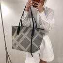 fashion lattice large capacity tote bag  NHWH337668
