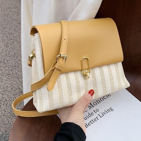 Mode couleur contrastante paille grande capacité épaule messenger petit sac carré en gros NHTG337711's discount tags