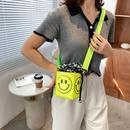 Childrens smiley face shoulder bag summer candy color mini bucket bag  NHTG337724