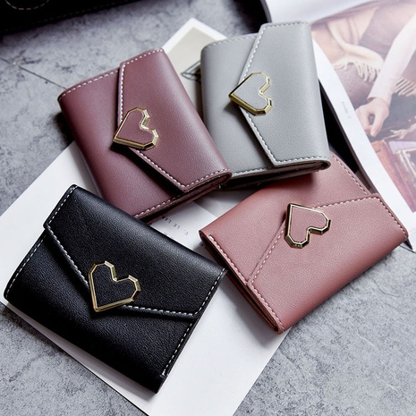 Fashion solid color heart-shape wallet NHTG337752's discount tags