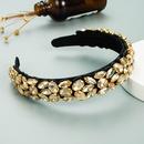 Baroque geometric glass diamonds handsewn fabric headband NHLN337804