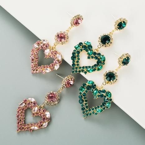 Mode lange Glas Diamant Herzform Ohrringe Großhandel NHLN337811's discount tags