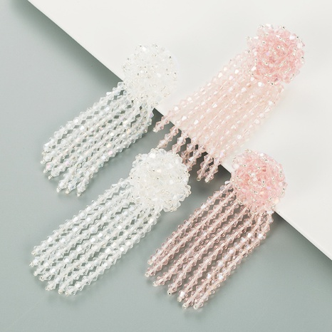 Mode Kristall gewebte Blume lange Quaste Ohrringe Großhandel NHLN337814's discount tags