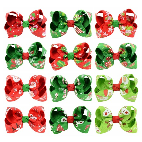 new colorful polyester ribbed ribbon printing bow hairpin NHMO337841's discount tags