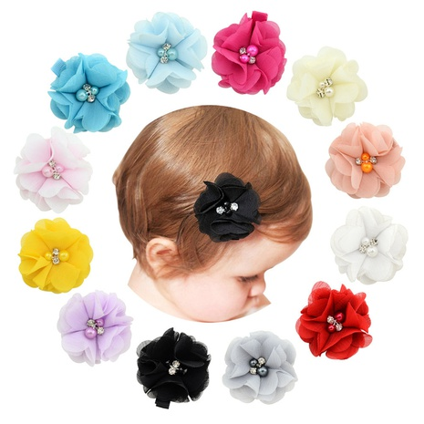 cute fashion flower pearl rhinestone chiffon hairpin NHMO337842's discount tags