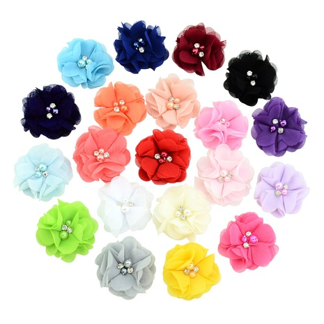 Fashion multi-color pearl hand-stitched flower chiffon headdress wholesale NHMO337846's discount tags