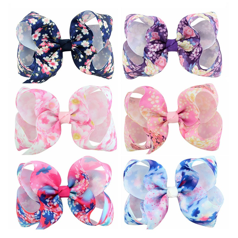 Childrens peony print ribbon bow hairpin set  NHMO337859