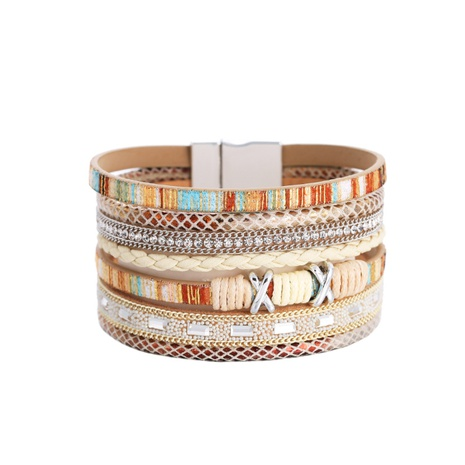 Böhmische breitkrempige Farbe gewebt mehrschichtiges Lederarmband Großhandel NHBD337977's discount tags