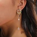 Korean long freshwater pearl tassel earrings NHAN337993