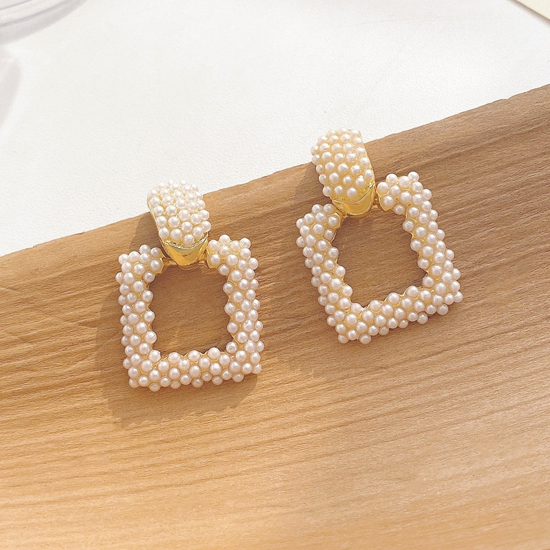 retro geometric pearl earrings NHWB338016