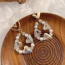 Korean heart pearl water drop earrings NHWB338017