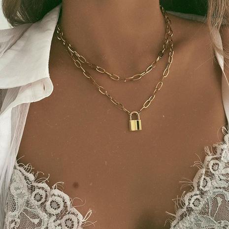 Fashion Lock Double Layer Legierung Halskette NHPJ338103's discount tags