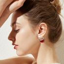Cute Rhinestone Cherry Alloy Earrings Wholesale NHNJ338106